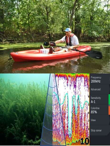 EcoSound Kayak Sonar Vegegtation Collage